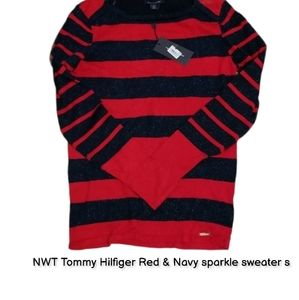 NWT Tommy Hilfiger Red & Navy sparkle sweater s